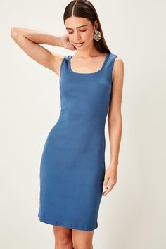 Brand Name: TrendyolGender: Women The Dress, High Neck Dress, Ribbed Knit Dress, Outfit Of The Day, Indigo, Dresser, Dresses For Work, Knitting, Outfits