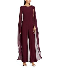 Shop for Lauren Ralph Lauren Chiffon-Cape-Overlay Jumpsuit at Dillard's. Visit Dillard's to find clothing, accessories, shoes, cosmetics & more. The Style of Your Life. Jumpsuit Dressy, Jumpsuit With Sleeves, Halter Jumpsuit, Donia, Estilo Fashion, Review Dresses, Wedding Jumpsuit, Jumpsuits For Women, Mother Of The Bride
