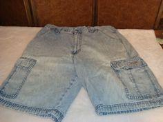 Men's Sz 32 Blue Denim 100% Cotton Cargo Shorts #unknown #Cargo