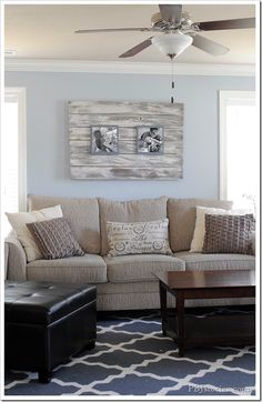 pbjstories living room - love this  room! Frame, colors, rug, pillows, couch...