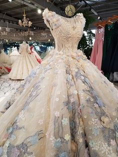 Try this out boosted beautiful quinceanera dresses Wedding Dresses With Flowers, Wedding Gowns, Dress With Flowers, Quinceanera Dresses, Prom Dresses, Quince Dresses, Fantasy Dress, Mannequins, Beautiful Gowns