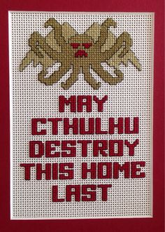 Cthulhu Cross stitch by redditor tippiedog