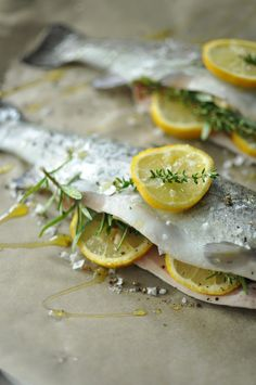 Whole baked Trout - Passports & Pamplemousse Baked Whole Trout Rainbow Trout Recipe Baked, Rainbow Trout Recipes, Baked Trout, Baked Fish, Trout Recipes Oven, Whole Trout Recipes, Lake Trout Recipes, Fish Dishes, Seafood Dishes