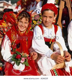 Two Girls in the Traditional Costume of Costa Verde Northern Portugal Stock Photo