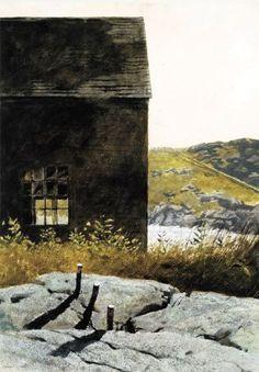 Boundary Pins, Monhegan - Jamie Wyeth 1974 American Watercolor, 30 x 20 ¾ in. Jamie Wyeth, Andrew Wyeth, Brandywine River, Watercolor Landscape, Abstract Landscape, Monhegan Island, Rockwell Kent, Magic House, Paintings