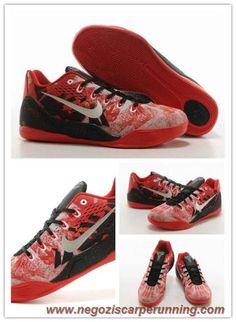 official photos dd886 dfd1c scarpe da ginnastica 74194-008 Nike Kobe IX Rosso   Bianco   Nero Uomo