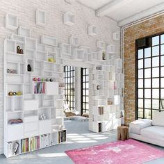Modular Shelving Systems Adding Fun and Color to Modern Storage Ideas Modular Shelving, Shelving Systems, Storage Shelving, Modular Storage, Shelving Decor, Storage Cubes, Storage Units, Shelving Ideas, Storage Solutions