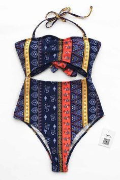 8cf189e44ea53 Trending Swimwear 2018 Picture Description Treat yourself to something  special~ Get a chic view with this swimsuit! Tie design and ethnic  printing~ Pack