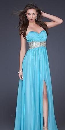 Elegant Empire Sheath White Chiffon Sleeveless Prom Dresses In Stock kaladress10280