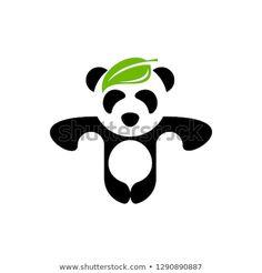 leaf panda logo vector design