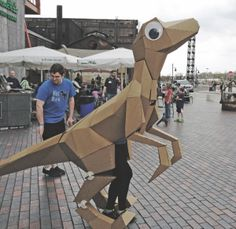 KitRex, the Googly-Eyed Life-Size Paper Velociraptor puppet/Costume Puppet Costume, Dino Costume, Cardboard Costume, Cardboard Mask, Costume Carnaval, Cardboard Sculpture, Cardboard Crafts, Paper Crafts, Recycled Costumes