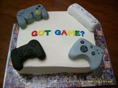 Video Game Cake This is a birthday cake for a boy who had a video game party. Chocolate cake with vanilla BC frosting, the different game. 10th Birthday Parties, Birthday Games, Boy Birthday, Birthday Ideas, Themed Parties, 10th Birthday Cakes For Boys, Happy Birthday, Video Game Cakes, Video Game Party