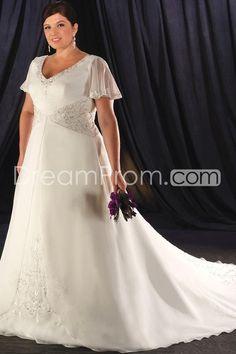 Attractive Empire V-Neck Short-Sleeve Chapel Chiffon Plus Size Wedding Dresses (3H0002)