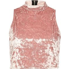 River Island Light pink velvet turtle neck crop top ($7.64) ❤ liked on Polyvore featuring tops, crop tops, shirts, crop, sale, red top, party tops, sleeveless shirts, turtleneck shirts and zipper crop top