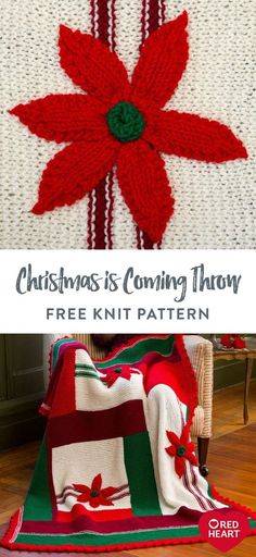 Free Christmas is Coming Throw knit pattern using Red Heart Super Saver yarn. The classic poinsettia Christmas theme has a modern new look in this wonderful throw. Knit it in this long-wearing yarn and enjoy it each holiday season for years to come. #Yarnspirations #FreeKnitPattern #KnitThrow #KnitAfghan #KnitBlanket #ChristmasDecor #RedHeartYarn #RedHeartSuperSaver