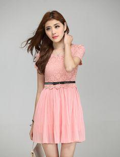 S1455 short sleeve lace chiffon dress-pink