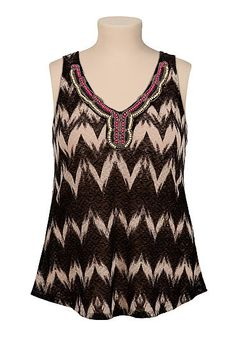 bead embellished chevron plus size hacci tank (original price, $34) available at #Maurices Looks like a shorty type but its cute