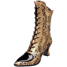 Funtasma by Pleaser Women's Victorian-45 Boot,Gold/Black Pu,11 M US (2.255 RUB) ❤ liked on Polyvore featuring shoes, boots, funtasma boots, pu shoes, kohl boots, polyurethane shoes and black gold boots