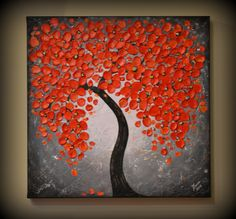 ORIGINAL Palette Knife Modern Art 20 x 20 Textured Abstract Red Cherry Blossom Tree Painting