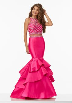 Morilee by Madeline Gardner 99039 | Two-Piece Prom Dress with Beaded Net Top and Ruffled Larissa Satin Skirt. Zipper Back. Colors Available: Lilac, Spearmint, Hot Pink