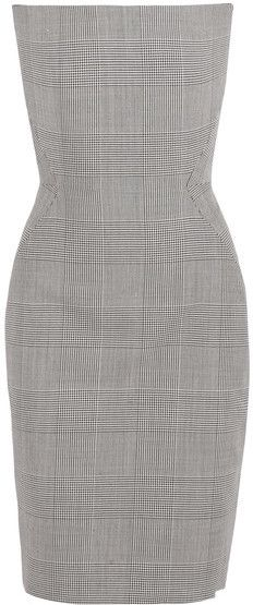 Gareth Pugh - Prince Of Wales Checked Wool Dress - Gray  Details: This form-fitting dress is cut from Prince of Wales checked wool with internal boning to create a nipped-in bodice.