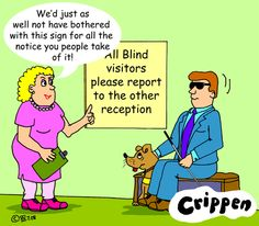 disability cartoons | Visual Impairment 2: Blind Sign