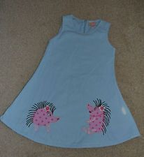 Girls pale blue baby cord applique hedgehog dress 104cm/ 3-4 years designer