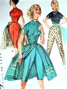 1950s FAB Cigarette Pants, Capri Pants, Front Wrap Skirt and Fitted Blouse SIMPLICITY 1812 Day, Lounging or Evening Bust 34 Vintage Sewing Pattern