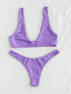 ¡Cómpralo ya!. Plunge Neckline Sexy Bikini Set. Purple Bikinis Sexy Vacation Push Up Polyester NO Swimwear. , bikini, bikini, biquini, conjuntosdebikinis, twopiece, bikini, bikini, bikini, bikini, bikinis. Bikini de mujer de SheIn.