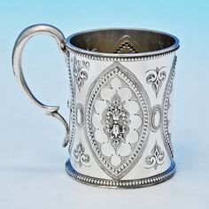 Antique Sterling Silver Christening Mug - Thomas Smily Hallmarked In 1877 London - Victorian