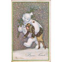 Art Deco Postcard Snowman and Lady New Year Adolfo Busi