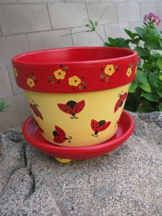 Ladybug Planter  Flower Pot by bubee on Etsy, $20.00