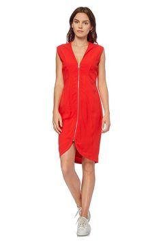 Venda French Connection / 28117 / Mulher / Vestidos e macacões sem mangas / Vestido com fecho zip Vermelho