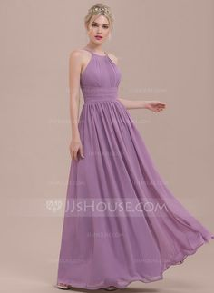 [US$ 108.49] A-Line/Princess Scoop Neck Floor-Length Chiffon Bridesmaid Dress With Ruffle