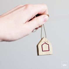 Wood House Necklace  Thread & Wood  Red by idniama on Etsy, $22.00