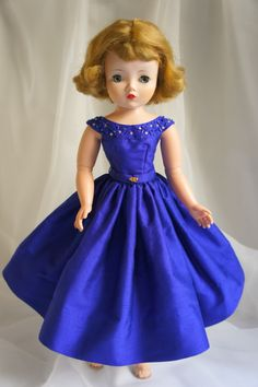 Sapphire blue beaded party dress for Madame Alexander Cissy