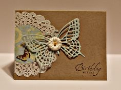 Sweet & Lacy Birthday Card...with paper lace doily, cutout butterfly & flower button...Tempus Fugit.