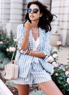 striped-blazer-with-shorts