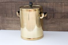 Brass Ice Bucket with Black Wooden Accents by PendletonMarket