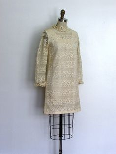 1960s cream lace sheath mini dress // vintage by VivianVintage8, $158.00