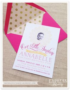 Our Little Sunshine | Birthday Invitation | First Birthday | Empress Stationery