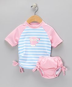 Take a look at this Light Blue Teacup Rashguard & Pink Swim Diape - Infant & Toddler by i play on #zulily today!