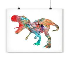 Dinosaur Watercolor Print Watercolor painting by Thenobleowl