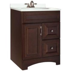Half bath vanity (will need new hardware).  American Classics Gallery 24 in. Vanity Cabinet Only in Java. Home Depot. $229.00