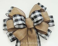 Items similar to Black White Buffalo plaid Burlap Bow Black White Cabin Check Christmas Topper Bow Black White Buffalo Plaid Bow Christmas Lodge Wreath Bow on Etsy Christmas Lodge, Christmas Topper, Burlap Christmas, Christmas Bows, Christmas Mantels, Christmas Crafts, Christmas Red Truck, Xmas, Wreath Crafts