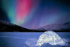 Alaska - Aurora Borealis and igloo