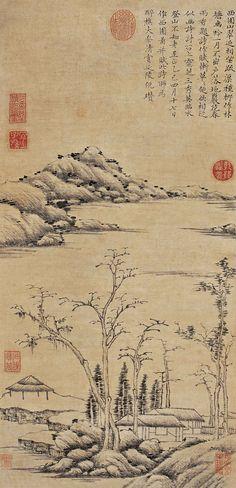 元代 - 倪瓚 - 西園疏柳圖                            Ni Zan (倪瓚; 1301–1374) was a Chinese painter during the Yuan and early Ming periods. Along with Huang Gongwang, Wu Zhen, and Wang Meng, he is considered to be one of the Four Masters of the Yuan Dynasty.