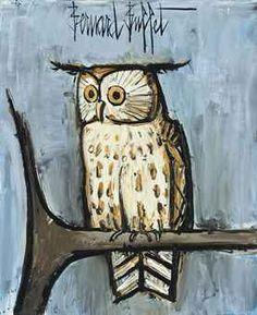 by Bernard Buffet Laurel Burch, Edvard Munch, Owl Art, Bird Art, Illustrator, Art Aquarelle, Watercolor Animals, Art And Illustration, Magazine Art