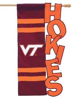 Virginia Tech University College Hokies 12  x 18 Garden Applique Pride Flag Pole #evergreen #Applique