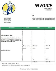 Cleaning Invoice Form Printable  House Cleaning Invoice